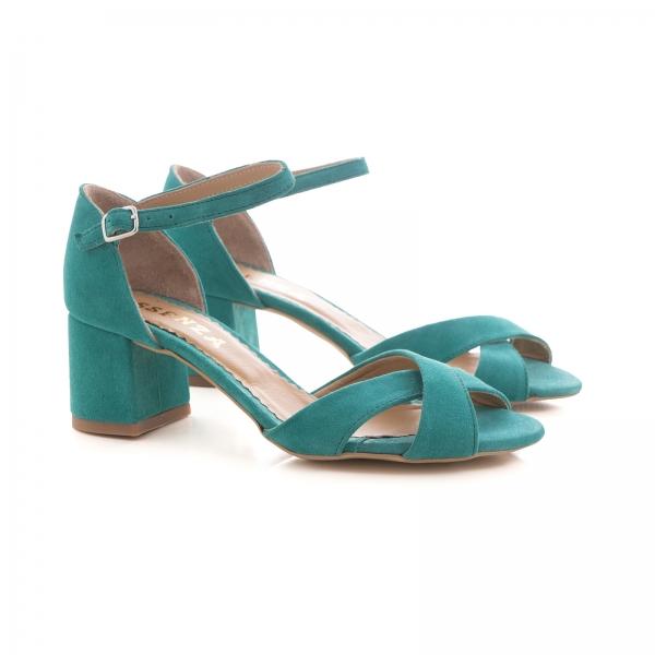 Sandale din piele intoarsa turquoise, cu toc gros 1