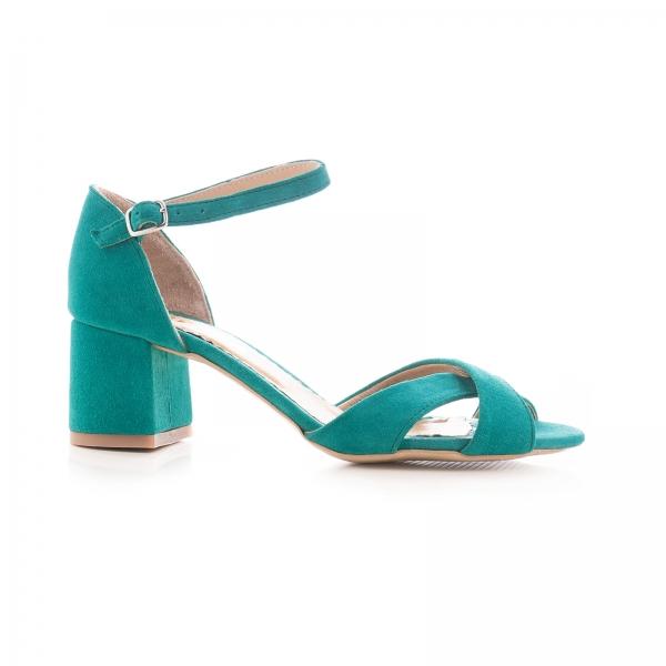 Sandale din piele intoarsa turquoise, cu toc gros 0