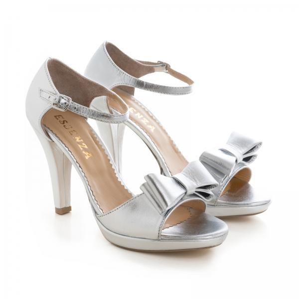 Sandale din piele laminata argintie, cu funde duble 3