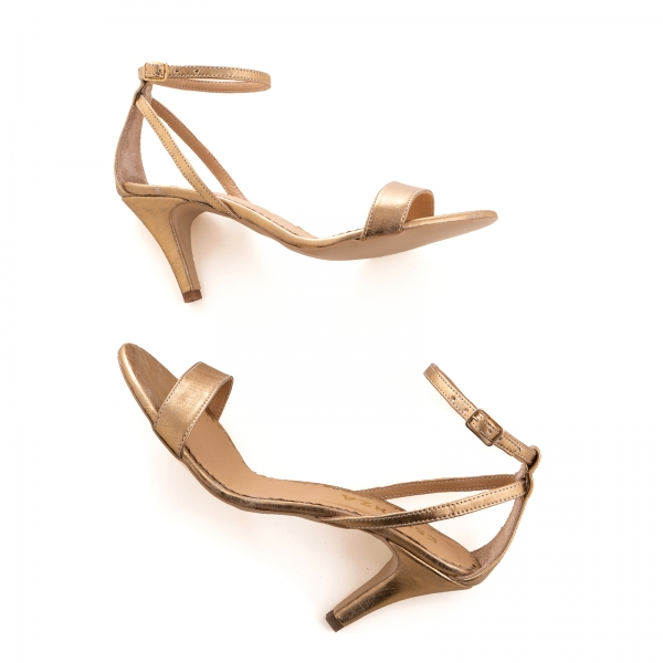 Sandale din piele laminata, auriu patinat 3