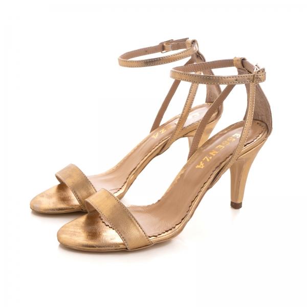 Sandale din piele laminata, auriu patinat 2