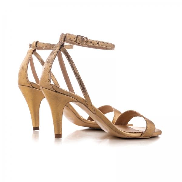 Sandale din piele laminata, auriu patinat 1