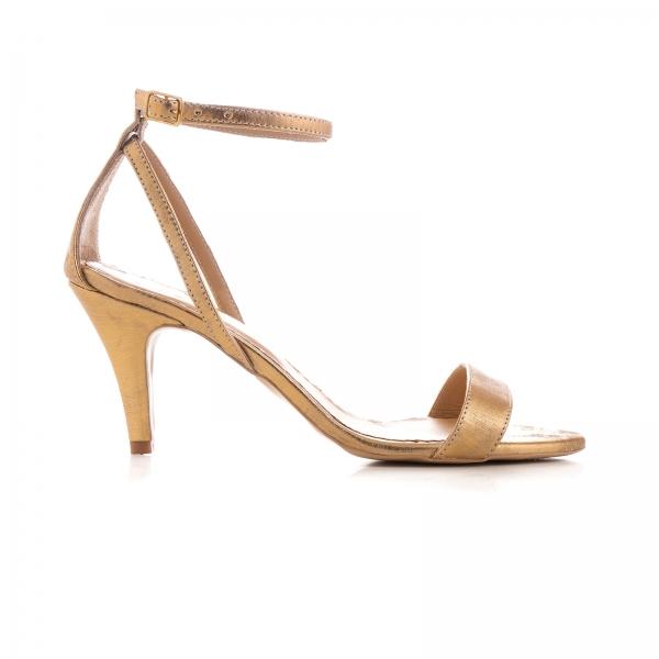 Sandale din piele laminata, auriu patinat 0