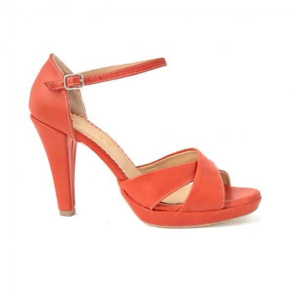 Sandale din piele naturala coral 0