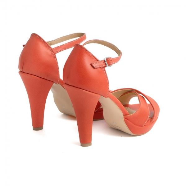 Sandale din piele naturala coral 2
