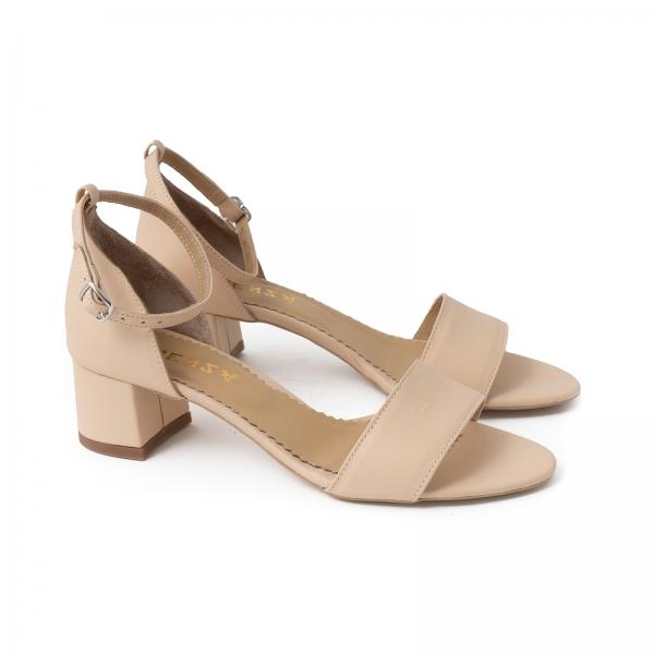 Sandale din piele naturala nude roze, cu toc patrat imbracat in piele 1