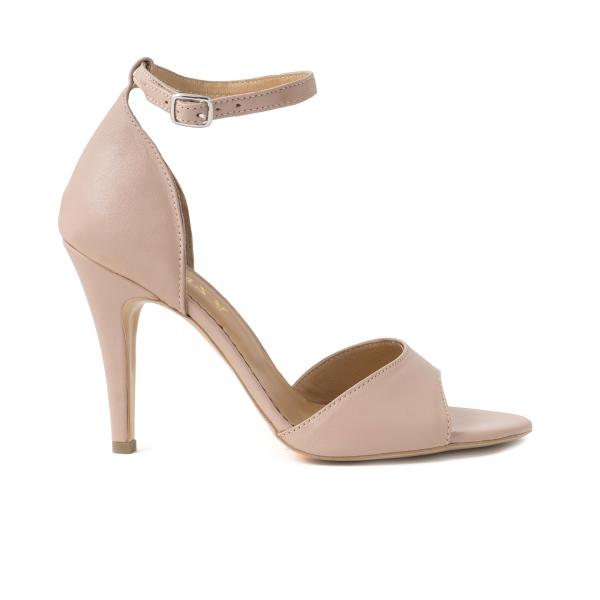 Sandale din piele naturala nude roze, cu toc stiletto 0