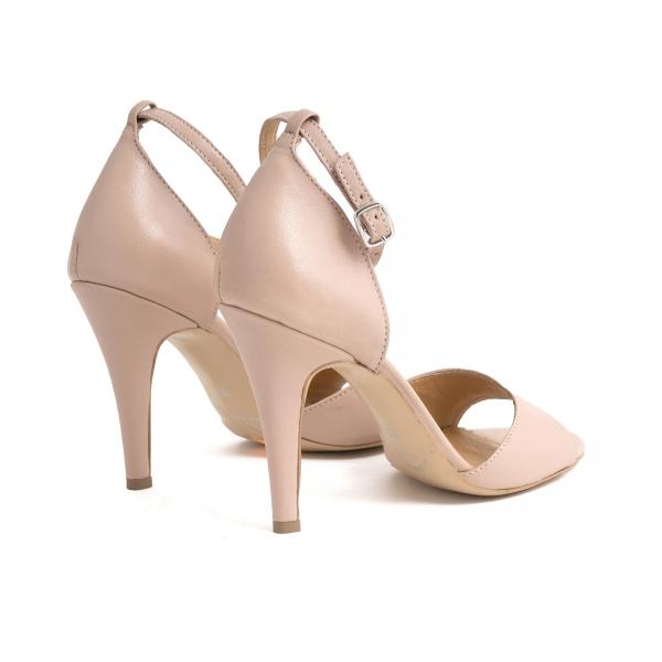 Sandale din piele naturala nude roze, cu toc stiletto 2