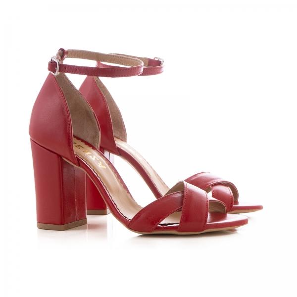 Sandale din piele naturala rosie, cu toc patrat 1